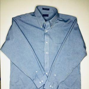 Blue long sleeve dress shirt.